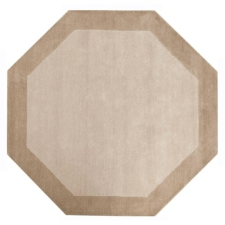 Pulse Border Off-White Wool Cotton Octagonal Rug (6' x 6')