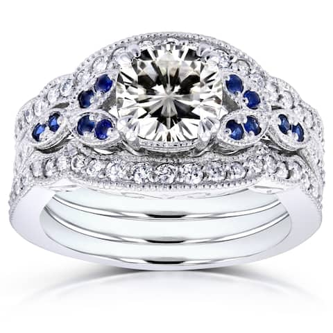 Annello by Kobelli 14k White Gold 1 3/4ct TGW Moissaanite (GH) with Diamond and Sapphire 3-piece Bridal Set
