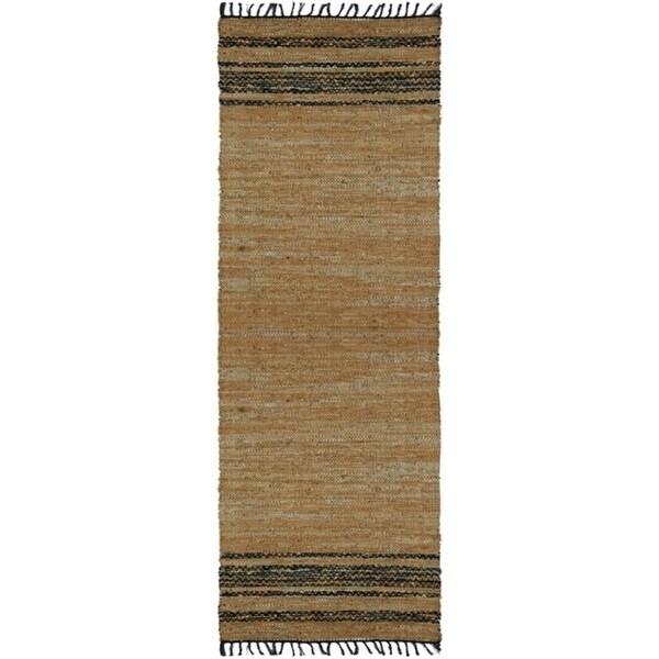 Tan Matador Leather Chindi Rug - 2.5'x14'