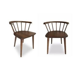 Maribel Mid-century Modern Walnut Wood Dining Chairs (Set of 2)