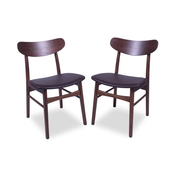 Shop Mid Century Modern Jessie Leather Dining Chairs Set Of 2