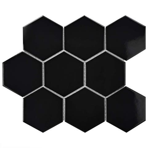 SomerTile 10x11.5-inch Victorian Super Hex Glossy Black Porcelain Mosaic Floor and Wall Tile (10 tiles/8.17 sqft.)