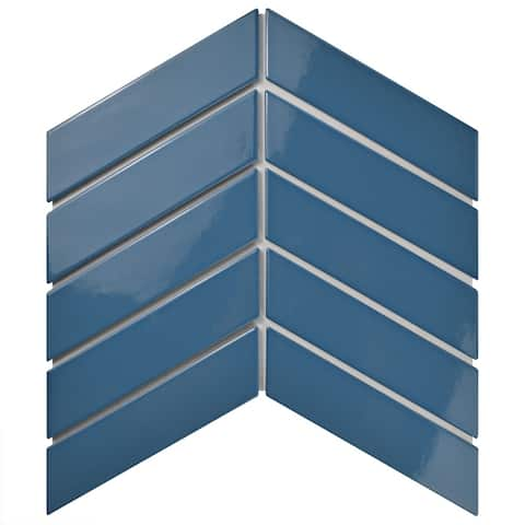SomerTile 1.75x7-inch Victorian Soho Chevron Glossy Cerulean Porcelain Floor and Wall Tile (10 tiles/1 sqft.)