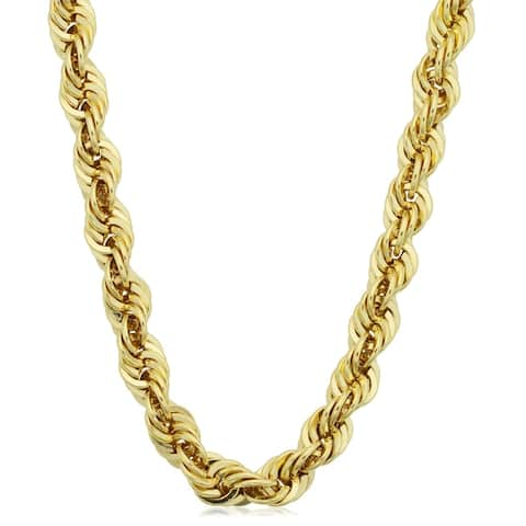 Fremada Men's 14k Yellow Gold Filled 6-mmRope Chain Necklace