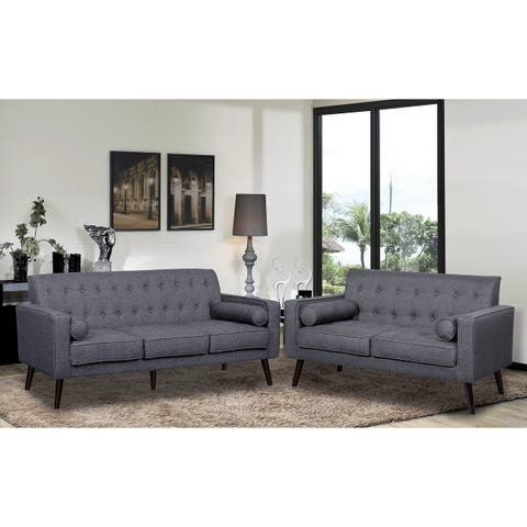 Donna Mid-Century Style Fabric Sofa Set