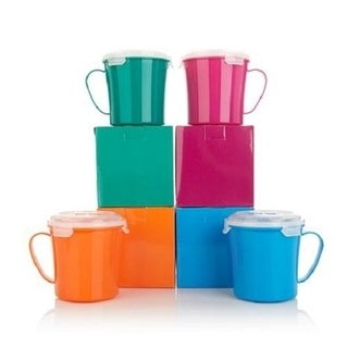 Bell Howell Set of 4 Microwavable Mugs with Vented Lids