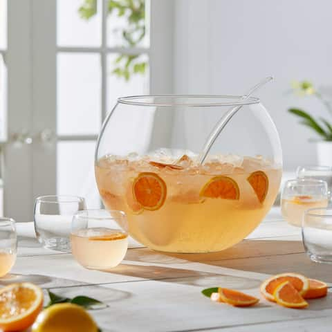 Libbey Selene Punch Bowl Set with 8 Punch Glasses, Punch Bowl and Ladle