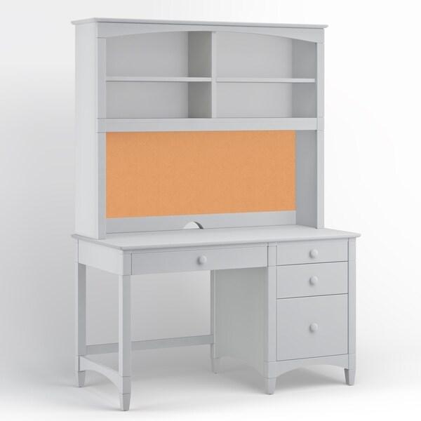 Essex Pedestal Desk with Hutch, Dove Gray