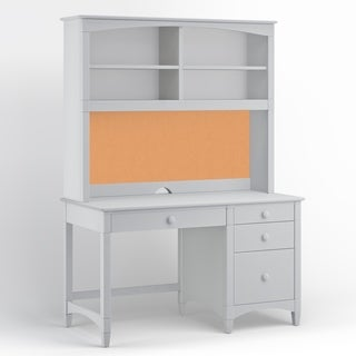Essex Pedestal Desk with Hutch, Dove Gray