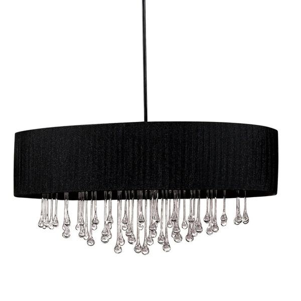 "Eurofase Penchant 6-Light Oval Pendant, Black Finish, Black Fabric Shade - 16034-013 - 16"" high x 35.75"" in diameter"