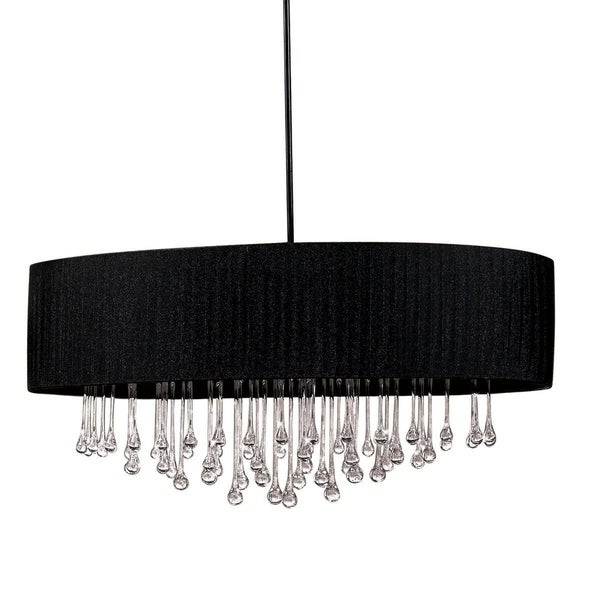 Eurofase Penchant 6-Light Oval Pendant, Black Finish, Black Fabric Shade - 16034-013