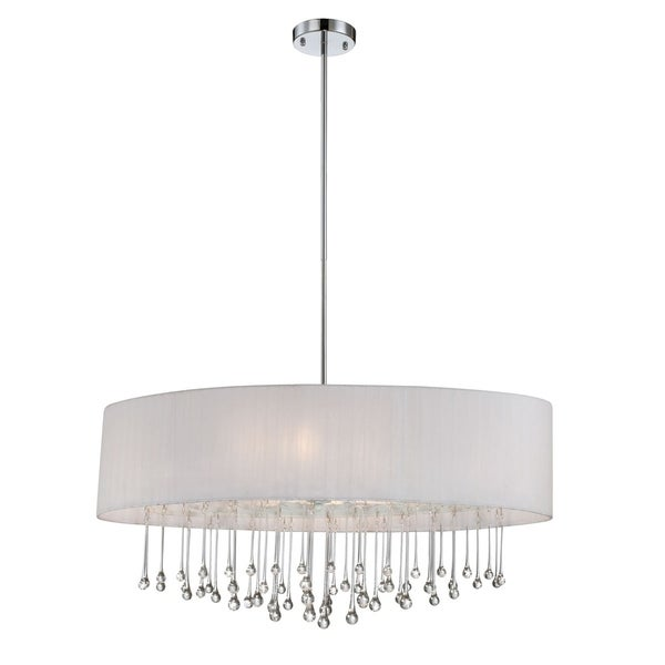 Eurofase Penchant 6-Light Oval Pendant, Chrome Finish, White Fabric Shade - 16034-037