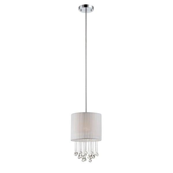 "Eurofase Penchant 1-Light Circular Light Pendant, Chrome Finish, White Fabric Shade - 16033-030 - 15"" high x 10"" in diameter"