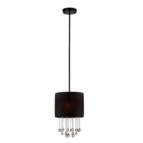 Eurofase Penchant 1-Light Circular Light Pendant, Black Finish, Black Fabric Shade - 16033-016