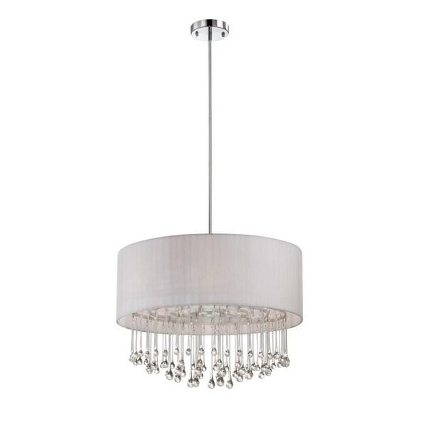 Eurofase Penchant 6-Light Circular Pendant, Chrome Finish, White Fabric Shade - 16035-034