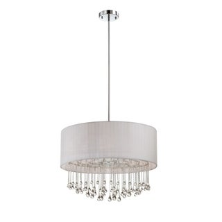 Eurofase Penchant 6-Light Circular Pendant, Chrome Finish, White Fabric Shade