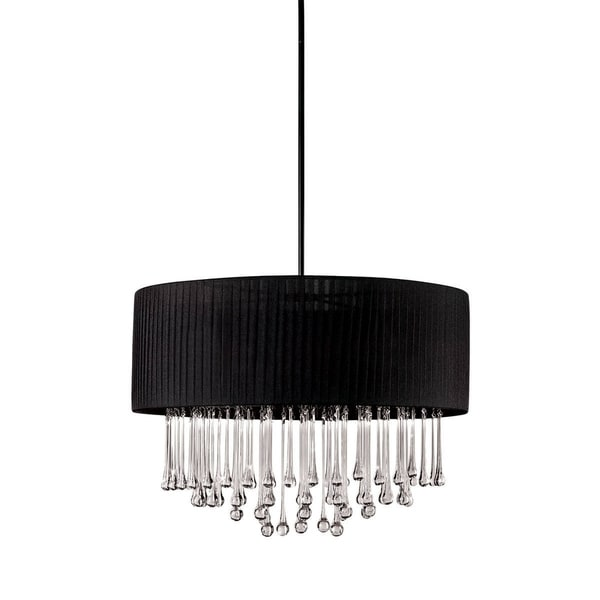 Eurofase Penchant 6-Light Circular Pendant, Black Finish, Black Fabric Shade - 16035-010