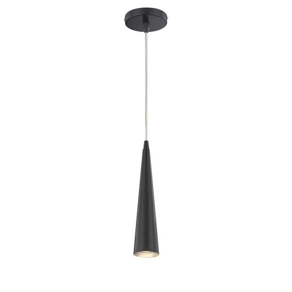 """Eurofase Sliver Small 1-Light Pendant, Black Finish - 20444-037 - 12"""" high x 2.75"""" in diameter"""