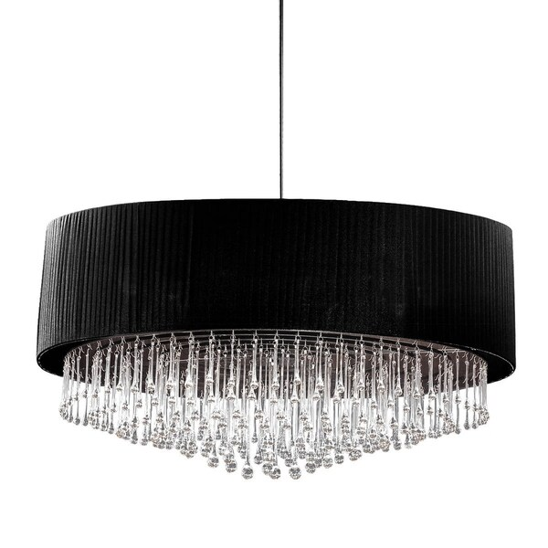 "Eurofase Penchant 6-Light Circular Pendant, Black Finish, Black Pleated Chiffon Shade - 20586-010 - 20"" high x 35"" in diameter"
