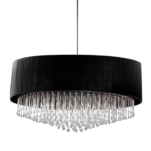 Eurofase Penchant 6-Light Circular Pendant, Black Finish, Black Pleated Chiffon Shade - 20586-010