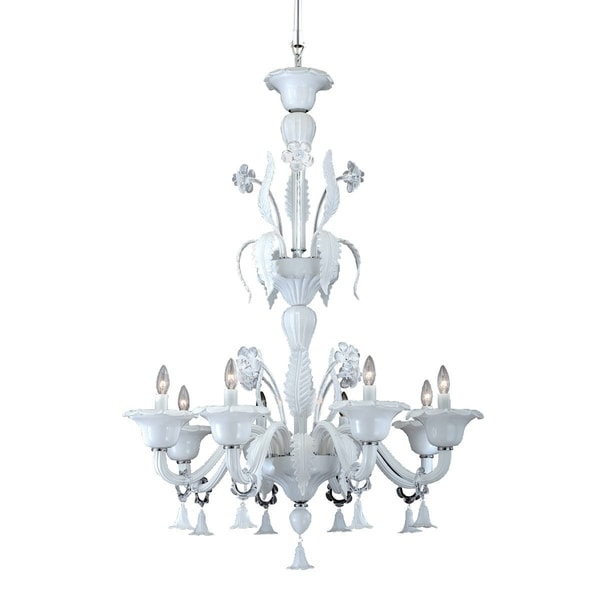 "Eurofase Veronica 8-Light Chandelier, White Finish - 22945-013 - 48.5"" high x 37"" in diameter"