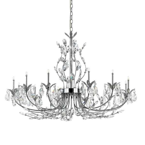 "Eurofase Giselle 12-Light Chandelier, Chrome Finish - 19394-015 - 27.5"" high x 34.5"" in diameter"