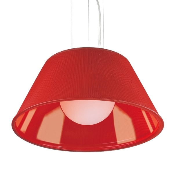 "Eurofase Ribo 1-Light Large Pendant, Chrome Finish, Red Shade - 23068-025 - 9"" high x 19.5"" in diameter"