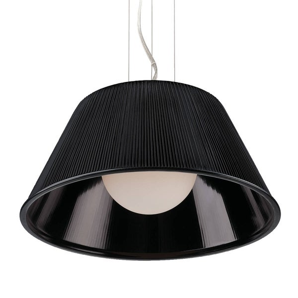 Eurofase Ribo 1-Light Large Pendant, Chrome Finish, Black Shade - 23068-032