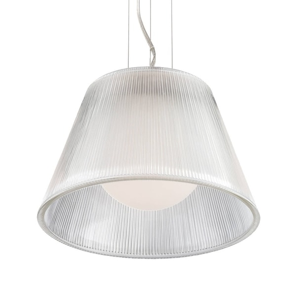 "Eurofase Ribo 1-Light Small Pendant, Chrome Finish, Clear Shade - 23067-011 - 8.5"" high x 13.25"" in diameter"