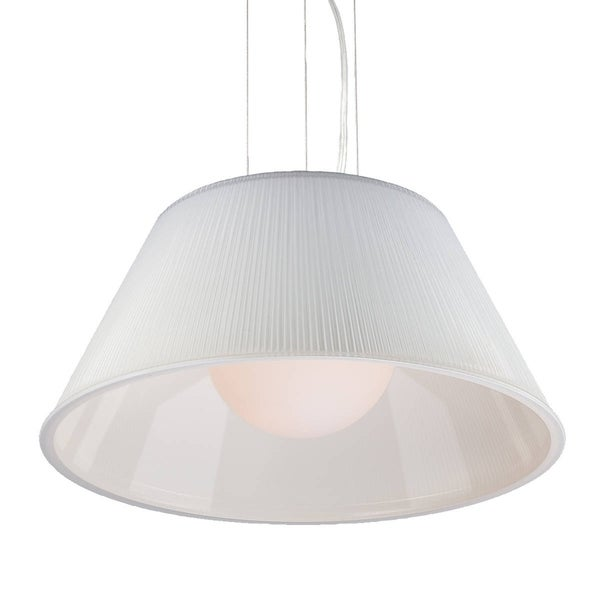 Eurofase Ribo 1-Light Large Pendant, Chrome Finish, Opal White Shade - 23068-049