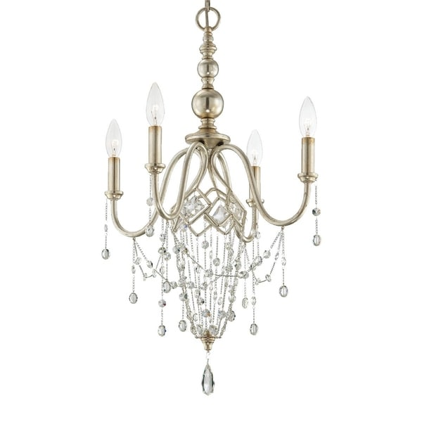 Eurofase Collana 4-Light Chandelier, Silver Leaf Finish - 25627-015