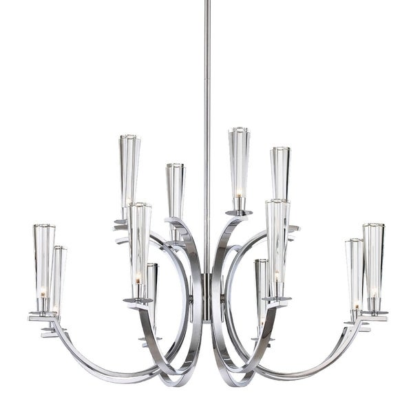 "Eurofase Cromo 12-Light Chandelier, Polished Chrome Finish - 25635-010 - 20.25"" high x 32"" in diameter"