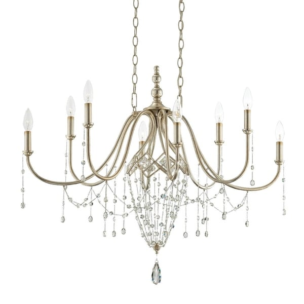 Eurofase Collana 8-Light Oval Chandelier, Silver Leaf Finish - 25629-019