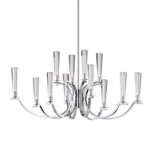 "Eurofase Cromo 12-Light Chandelier, Polished Chrome Finish - 25636-017 - 16.5"" high x 35.75"" long x 22"" wide"