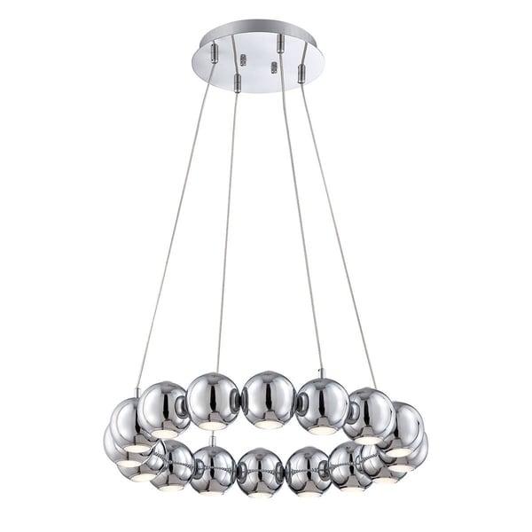 """Eurofase Pearla 16-Light LED Chandelier, Chrome Finish - 26234-014 - 4.25"""" high x 23.75"""" in diameter"""