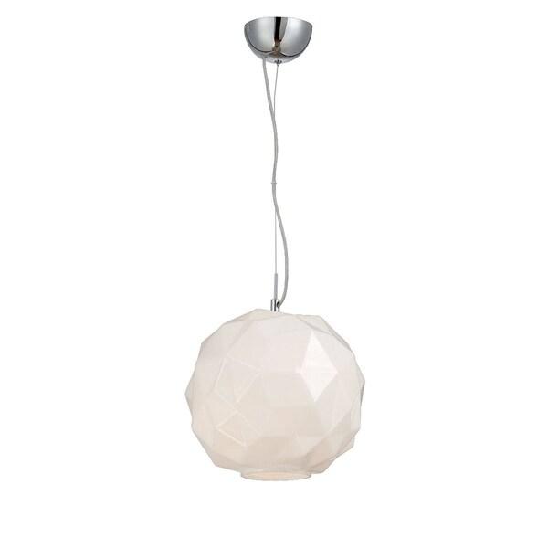 """Eurofase Studio 1-Light Pendant, Chrome Finish, Opal White Glass Shade - 26249-025 - 11.5"""" high x 11.75"""" in diameter"""