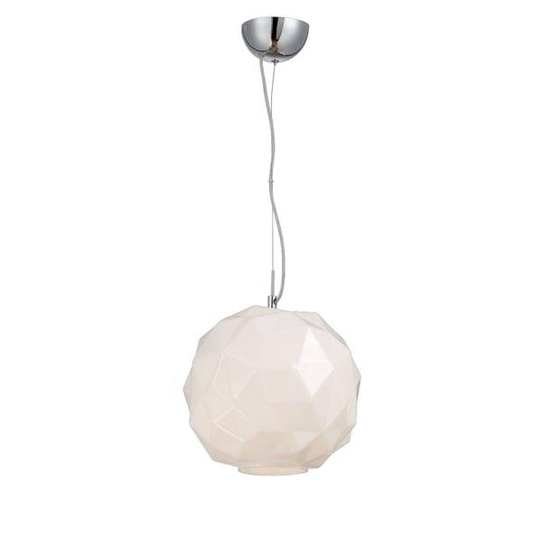 Eurofase Studio 1-Light Pendant, Chrome Finish, Opal White Glass Shade - 26249-025
