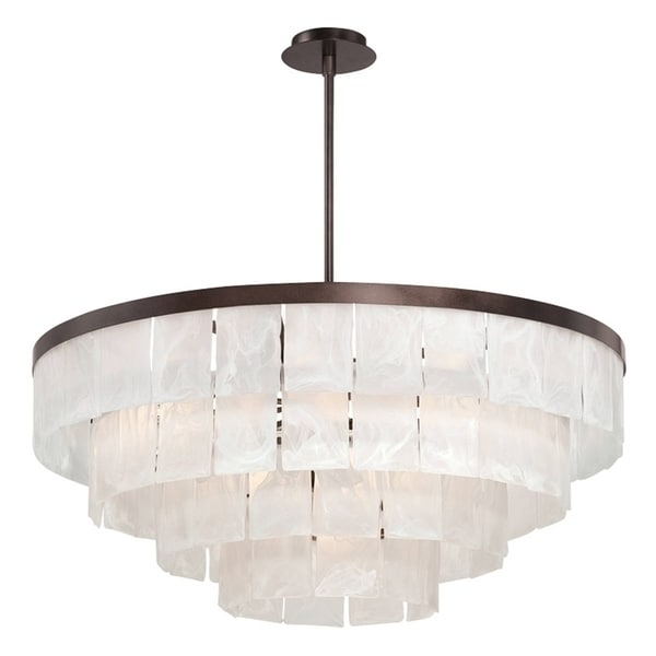 "Eurofase Hainsworth 13-Light Chandelier, Bronze Finish - 28048-015 - 15.5"" high x 35.5"" in diameter"