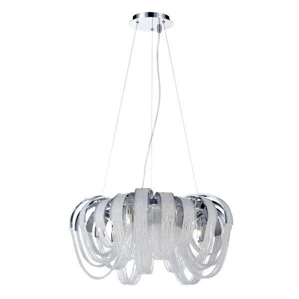 "Eurofase Sage 5-Light Chandelier, Chrome Finish - 26595-016 - 12"" high x 25"" in diameter"