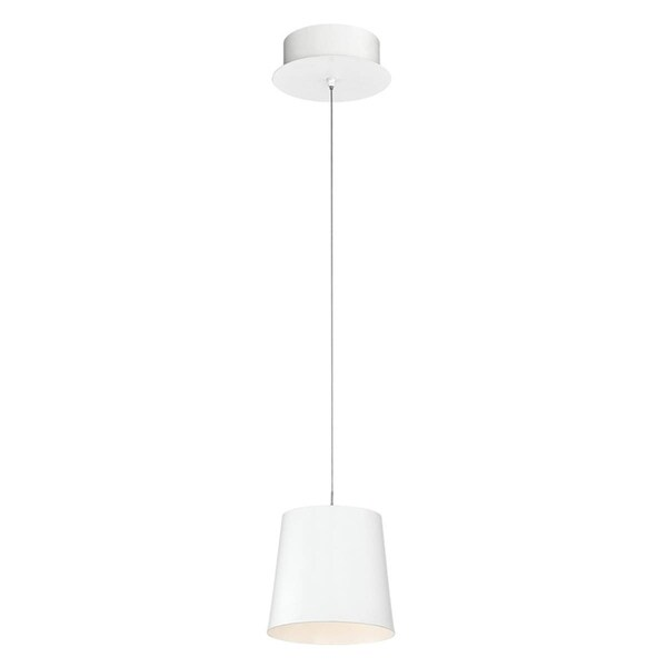 "Eurofase Borto 1-Light LED Pendant, White Finish - 28161-011 - 8.25"" high x 6"" in diameter"