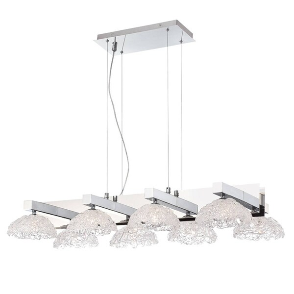 "Eurofase Caramico Hand Crafted Drizzled Glass Chandelier, Chrome Finish - 28138-013 - 5.75"" high x 41"" long x 21"" wide"