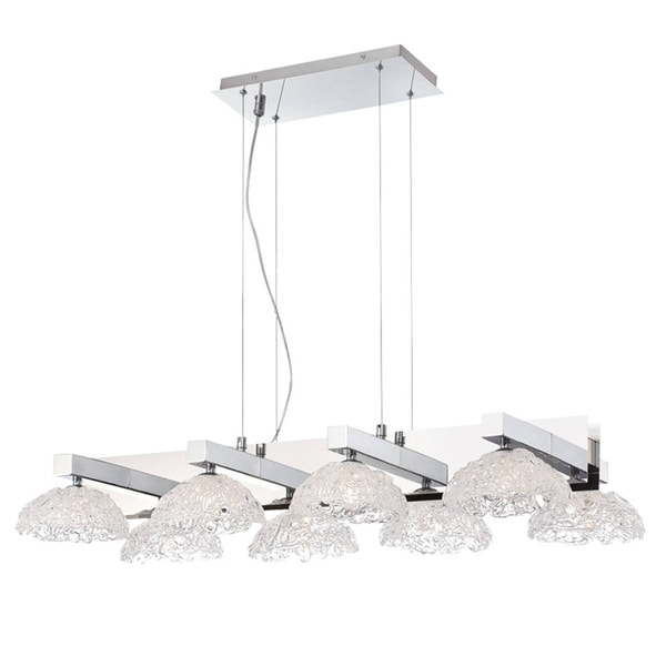 Eurofase Caramico Hand Crafted Drizzled Glass Chandelier, Chrome Finish, 8 G9 Light Bulbs, 41 Inches Long - 28138-013