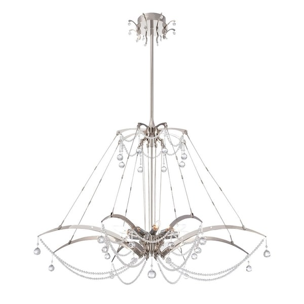 Eurofase Gambari 8-Light Chandelier, Satin Nickel Finish - 28145-011