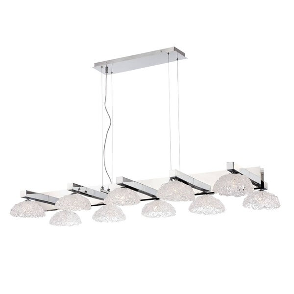Eurofase Caramico Hand Crafted Drizzled Glass Chandelier, Chrome Finish, 10 G9 Light Bulbs, 52.75 Inches Long - 28139-010