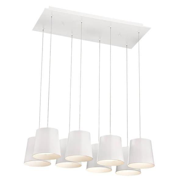 "Eurofase Borto 8-Light LED Chandelier, White Finish - 28163-015 - 8.25"" high x 27.25"" long x 13"" wide"