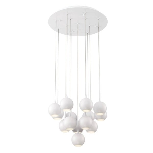 "Eurofase Patruno 14-Light LED Chandelier, Matte White Finish - 28174-011 - 4"" high x 19"" in diameter"