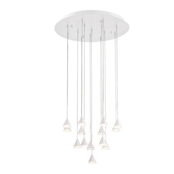 "Eurofase Albion 14-Light LED Chandelier with White Finish - 28177-012 - 6.75"" high x 19"" in diameter"