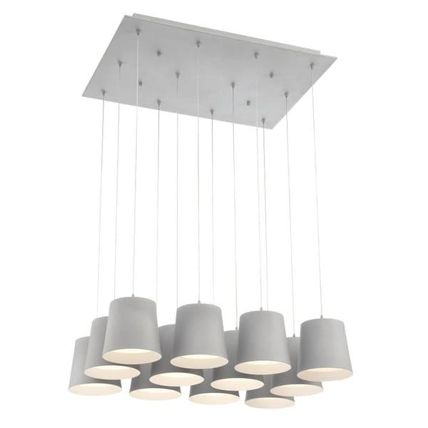 "Eurofase Borto 12-Light LED Chandelier, Grey Finish - 28164-036 - 8.25"" high x 27.25"" long x 20"" wide"