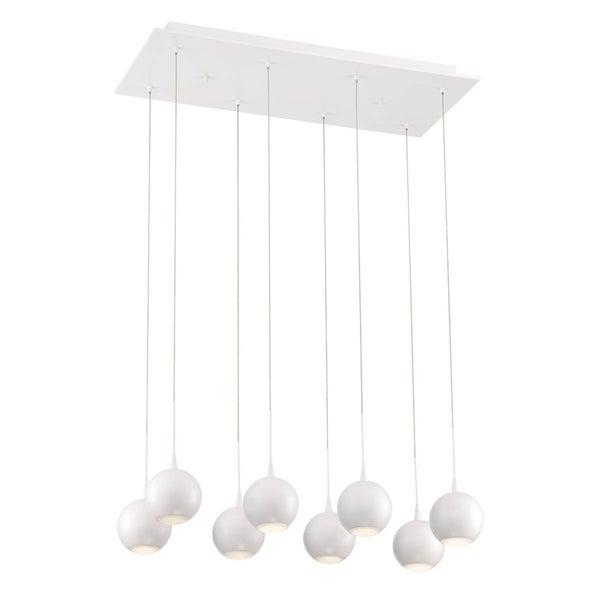 "Eurofase Patruno 8-Light LED Chandelier, Matte White Finish - 28169-017 - 4"" high x 25.75"" long x 11.5"" wide"