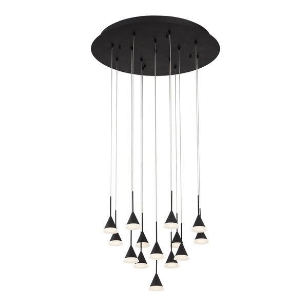 "Eurofase Albion 14-Light LED Chandelier with Black Finish - 28177-029 - 6.75"" high x 19"" in diameter"